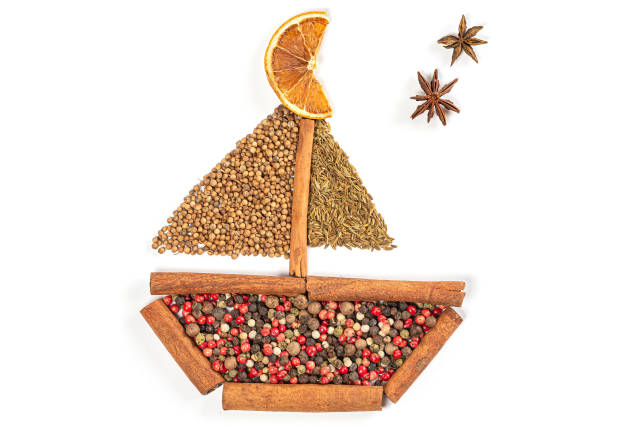 Ship made of natural spices on white