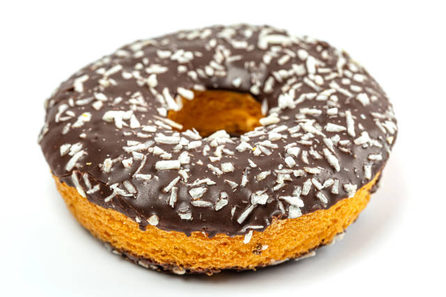 Chocolate donut sprinkled with coconut