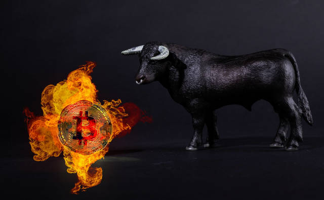 Black bull with Bitcoin in fire on black background