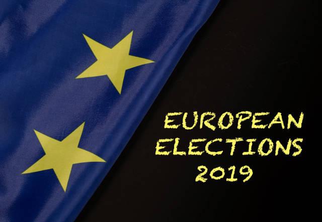 European elections 2019 text with European Union flag
