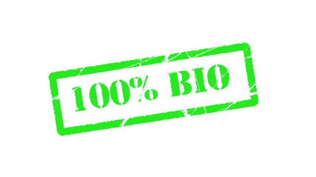 100% bio green stamp text