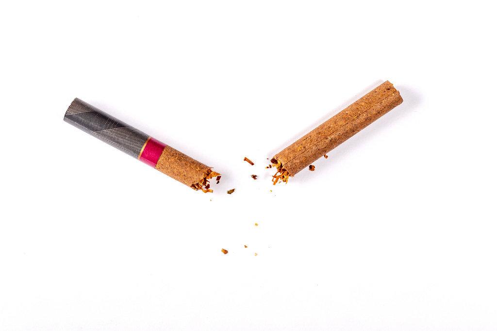 Quit smoking concept. Broken cigarette on white background