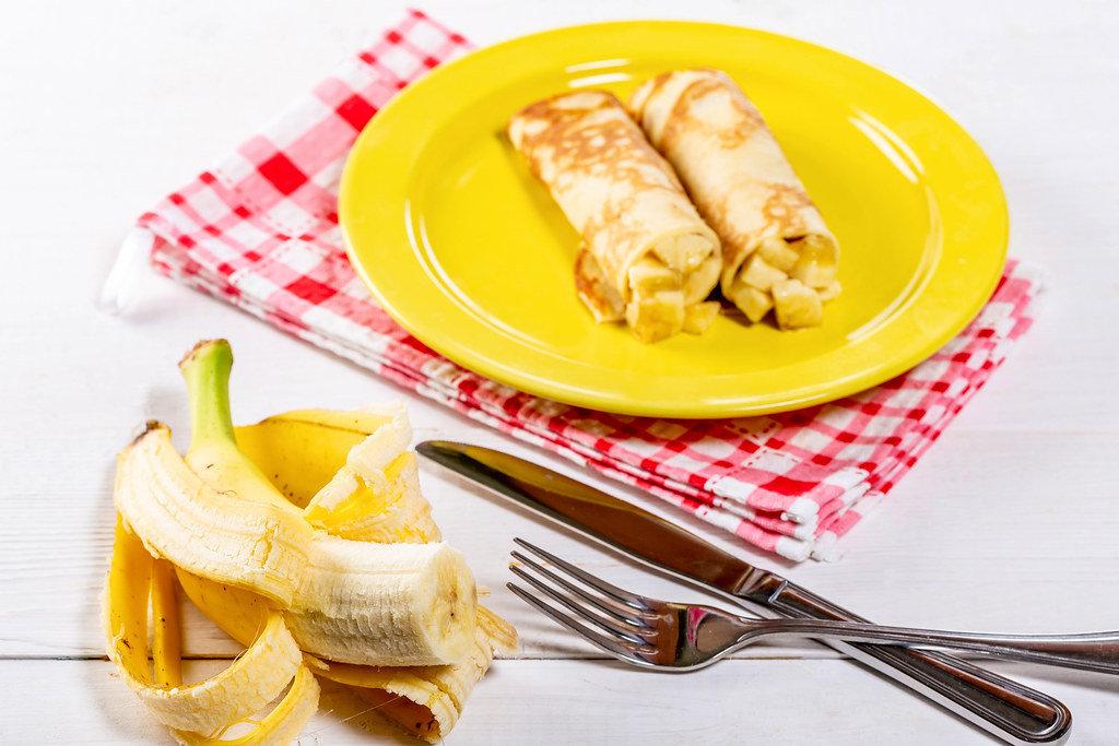 Homemade pancakes with fresh banana