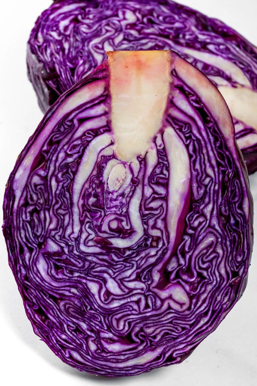 Halves of fresh red cabbage close-up