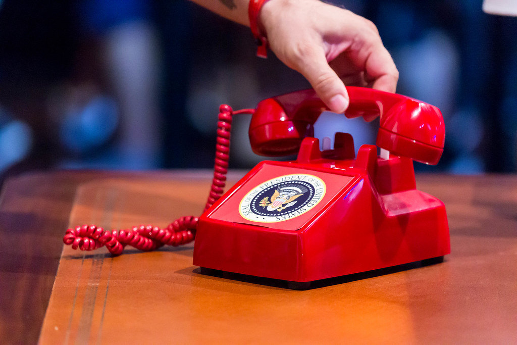 President answering the red phone during cold war