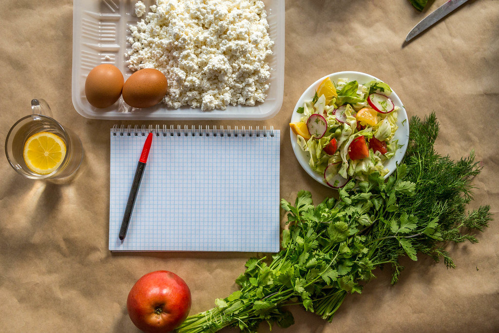 Diet plan. Planning diet with switching to healthy organic food