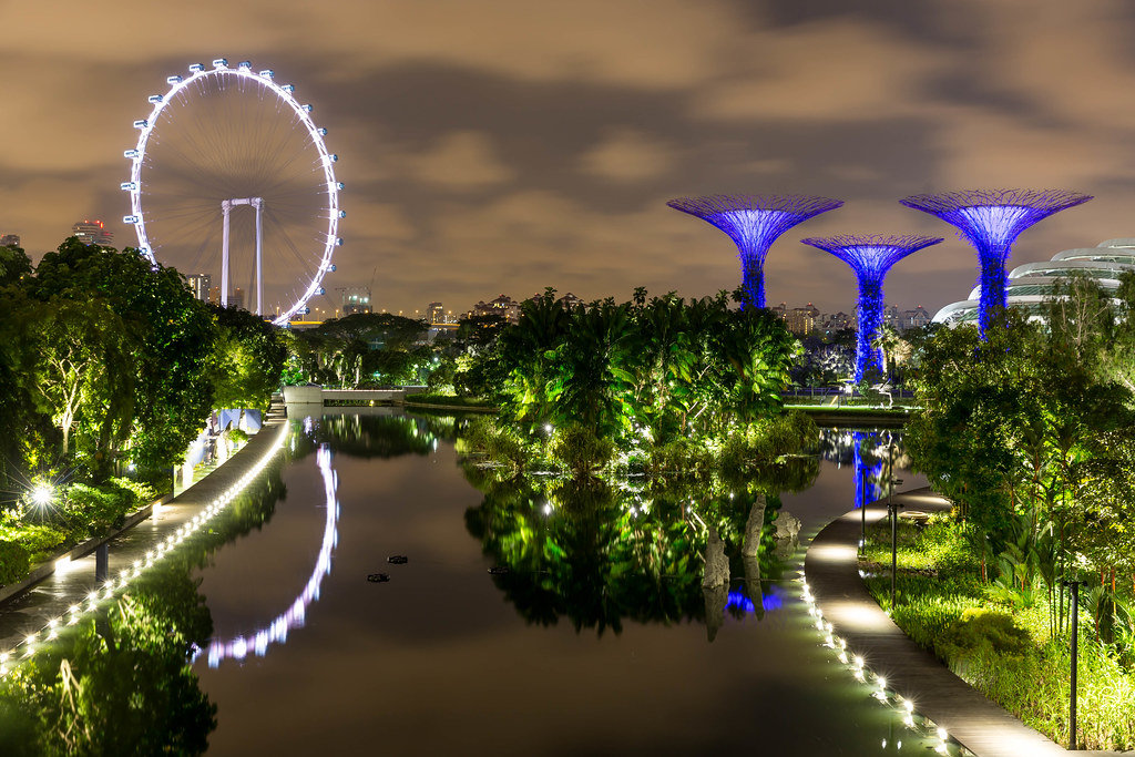 Nachtaufnahme: Singapur Flyer (Riesenrad) und Supertree Grove