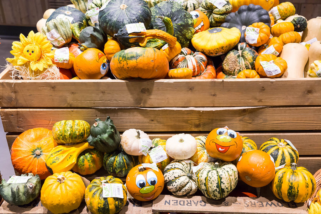 Pumpkins of different varieties, some of them painted over