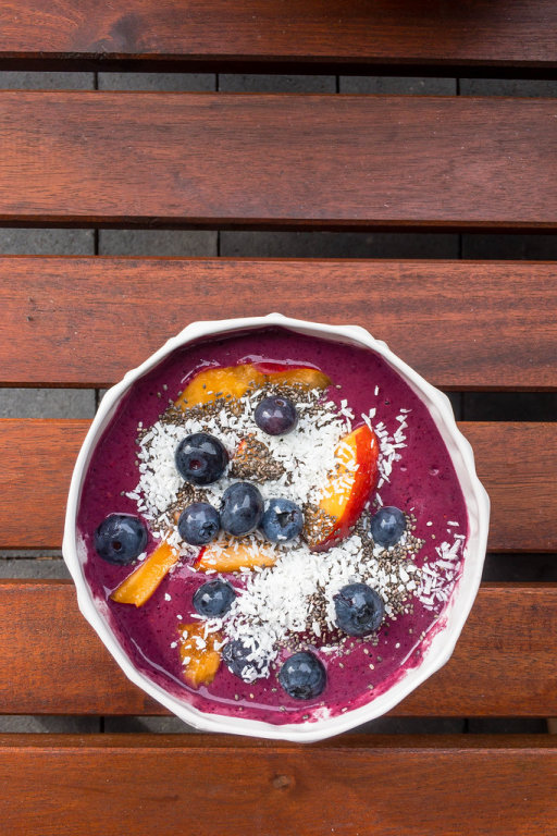 Healthy ACAI Bowl with Blueberries and Cocos