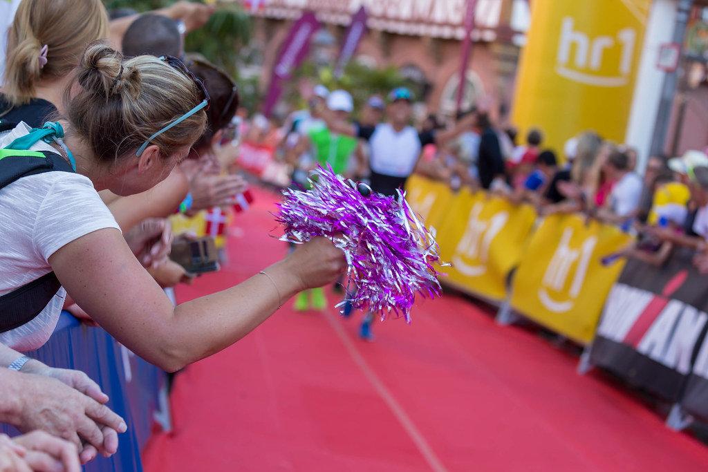 Spectators cheering the athletes on close to finishing line - Ironman Frankfurt 2018