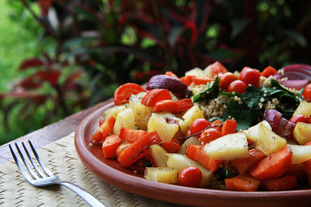 Roasted Vegetable Salad with carrot, potato, red onion, spinach, quinoa