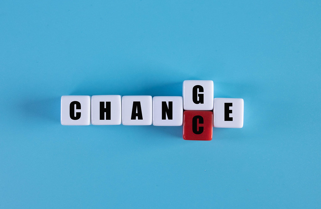 """Cubes with word """"change"""" to """"chance"""", Personal development and career growth or change yourself concept"""
