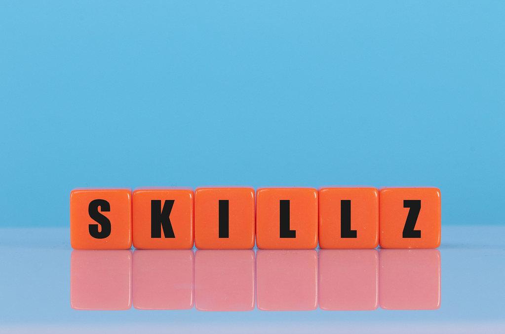 Skillz text on orange cubes