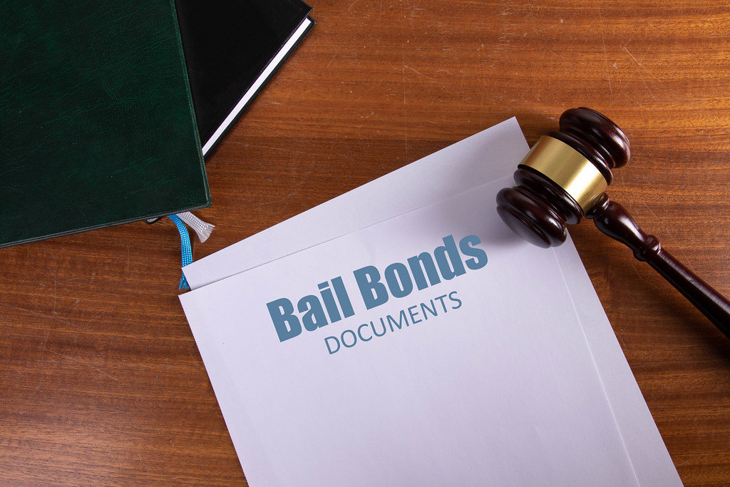 Bail Bonds Documents on table with judge gavel