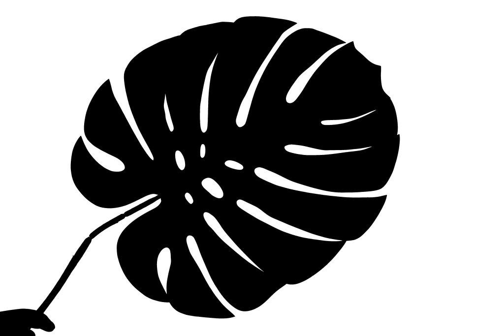 Silhouette of a big palm leaf