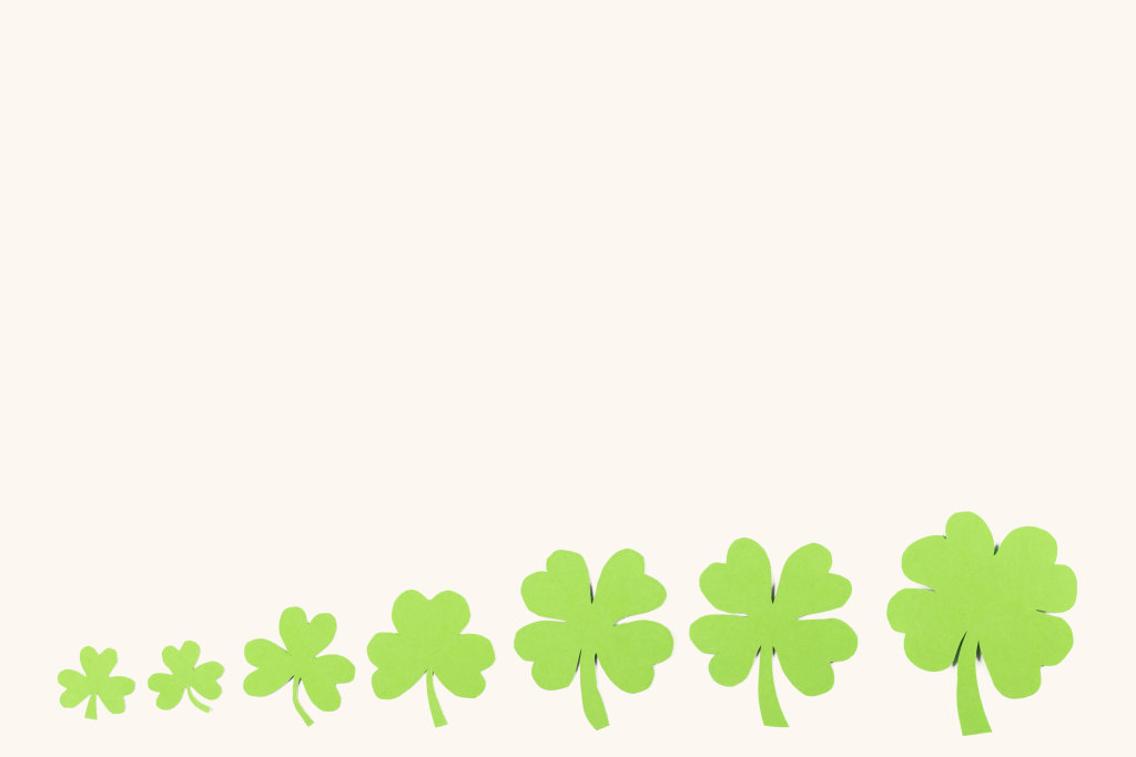 Clover plant is a symbol of luck and patricks day symbol on white with free space