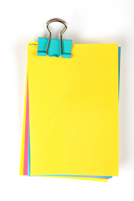 Note papers label with clips on white