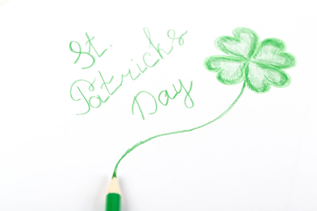 Hand drawn congratulation for st patricks day on a white background