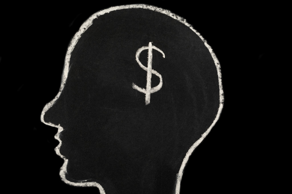 Chalk-drawn head of a man and a dollar sign, the concept of thoughts about earning money, business, achieving a goal