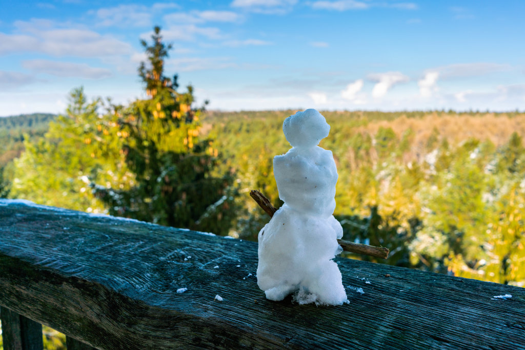 Small toy-sized snowman on the observation tower looking over German national forrest near Hamburg