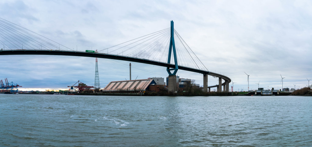 Köhlbrandbrücke suspension bridge in Hamburg, Germany