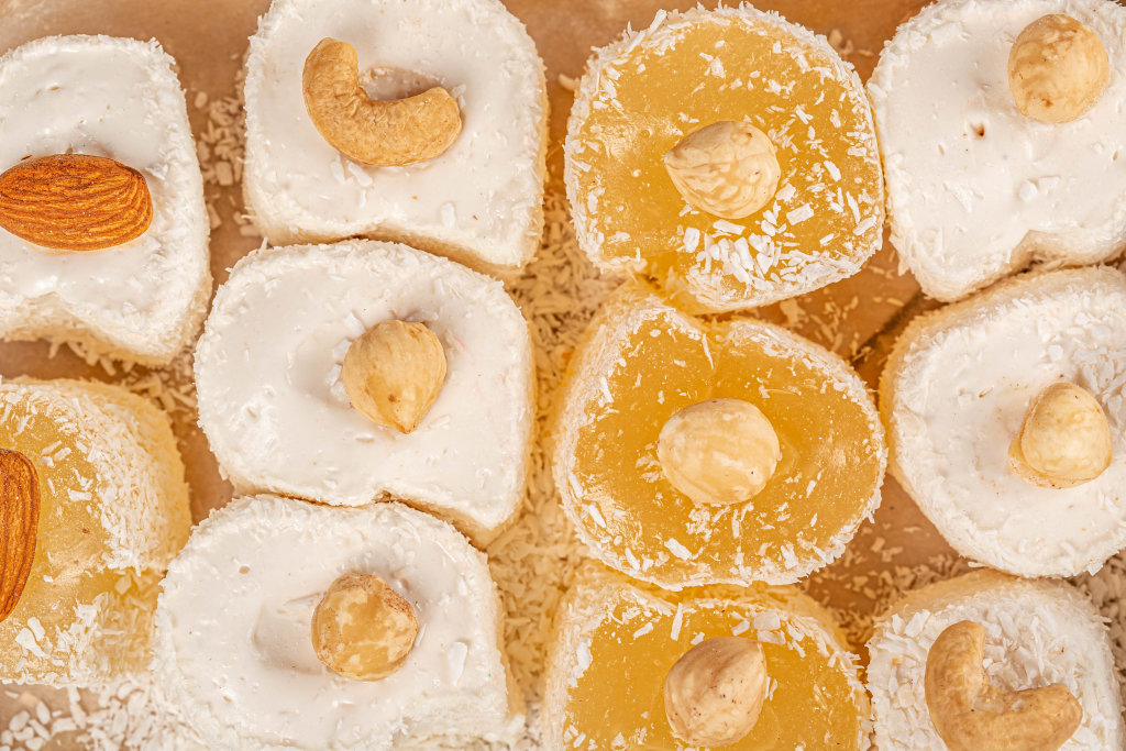 Eastern sweets, turkish delight with nuts