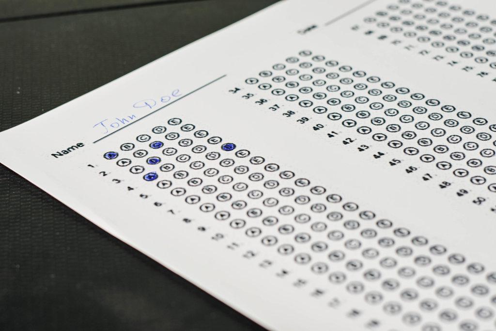 Close-up view of exam sheet