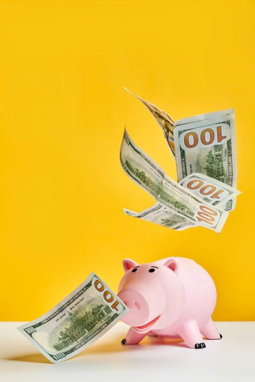 Money rain falling to the piggy coin bank