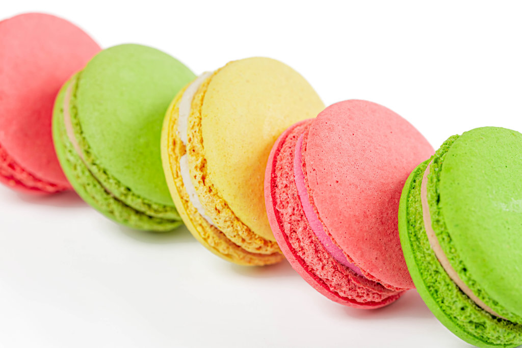 A french sweet delicacy, macaroons variety close up