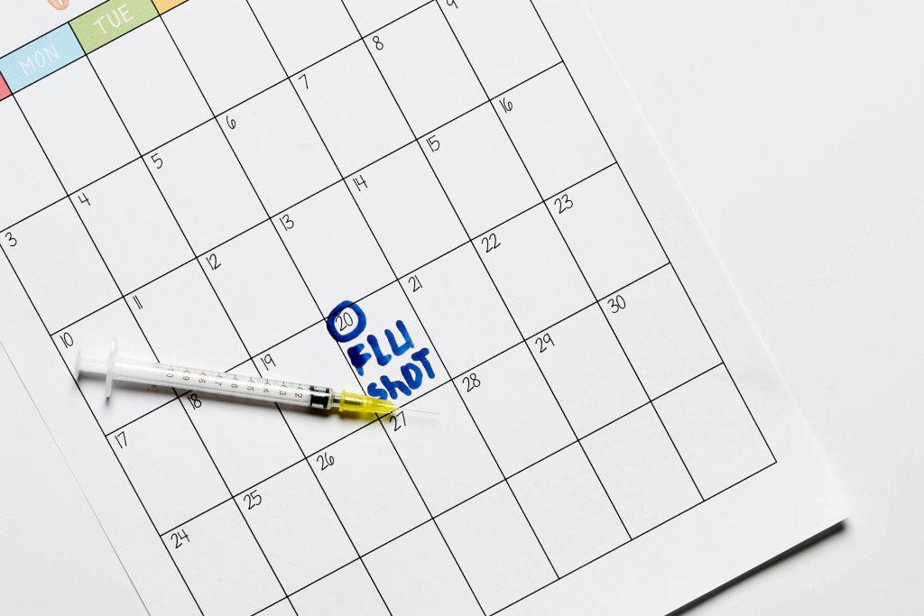 Flu Shot written on calendar
