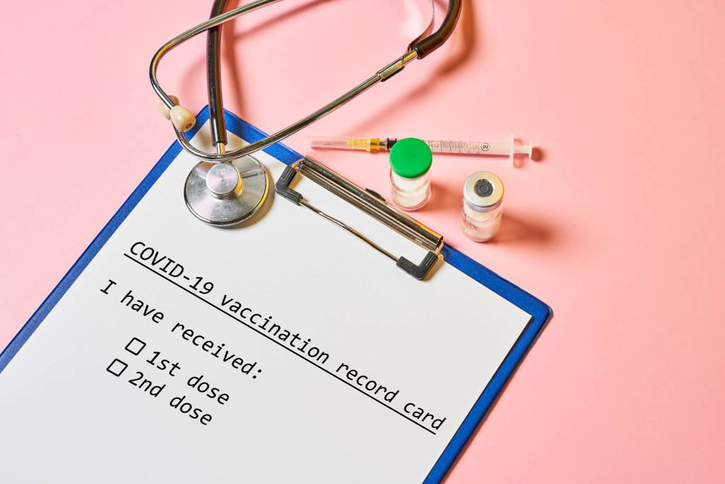 Vaccination record card with survey questions