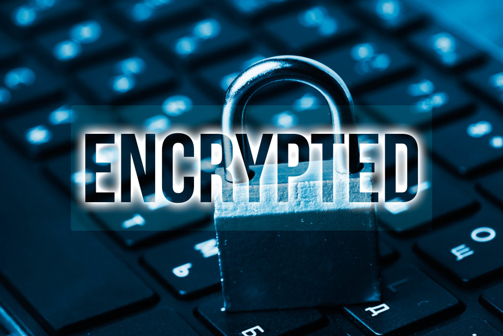 Technology concept with cyber security internet and networking - encrypted data