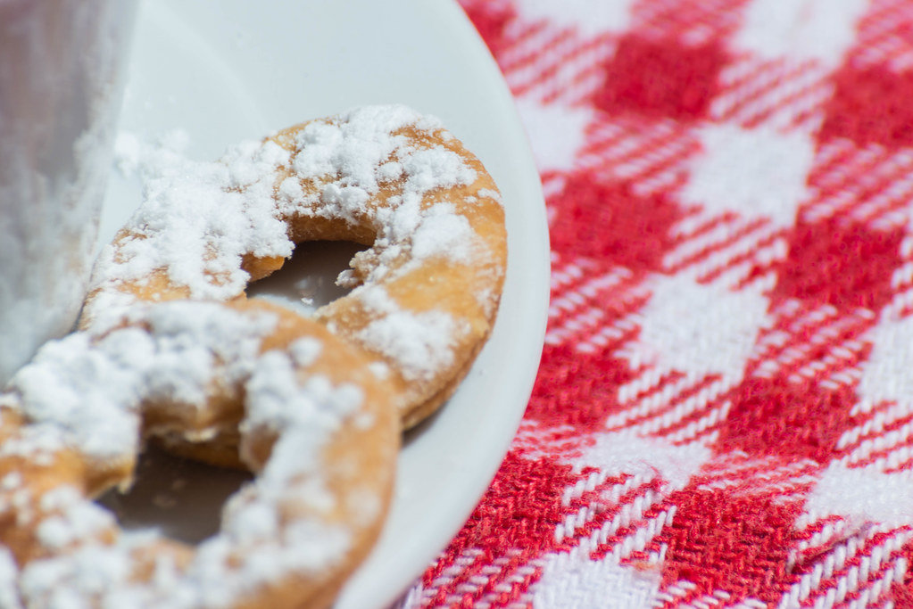Homemade shortbread cookies sprinkled with icing sugar