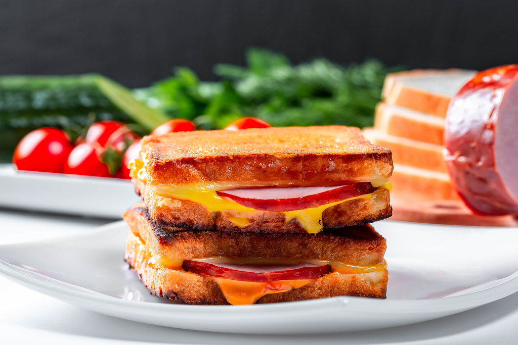 Delicious big hot sandwich on a white plate