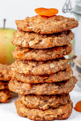 Close-up of oatmeal cookies with a mixture of nuts and dried fruits