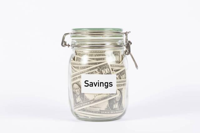 Money jar with Savings label