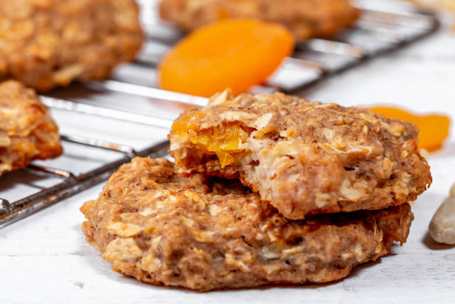 Baked oatmeal cookies with dried fruits and nuts