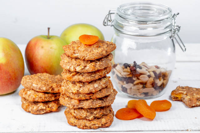 Tasty and healthy oatmeal cookies with a mixture of nuts and dried fruits without sugar