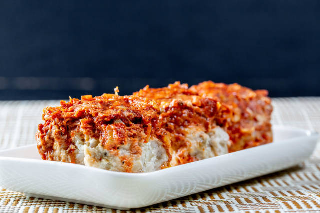 Chicken and cabbage meatballs in tomato sauce