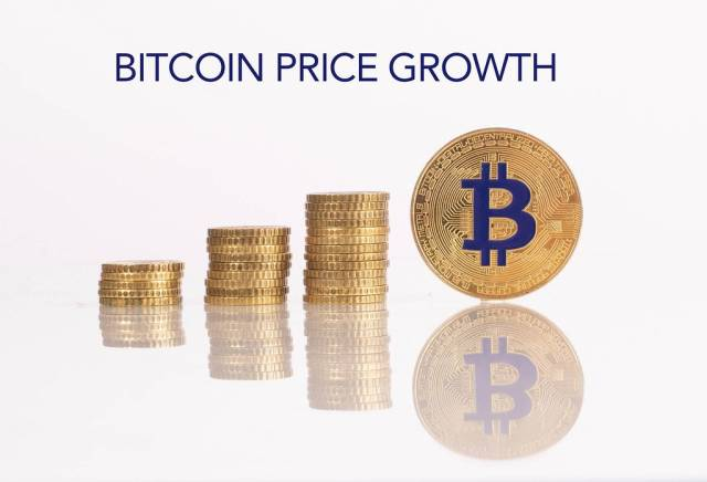 Stack of gold coins with golden Bitcoin and Bitcoin price growth text