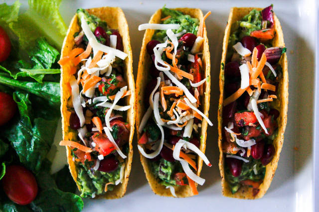 Top View Food Photo of Mexican Vegetarian Tacos with Lettuce