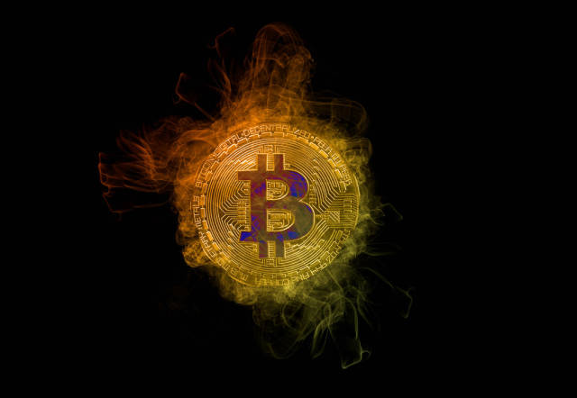 Bitcoin with colorful smoke on black background