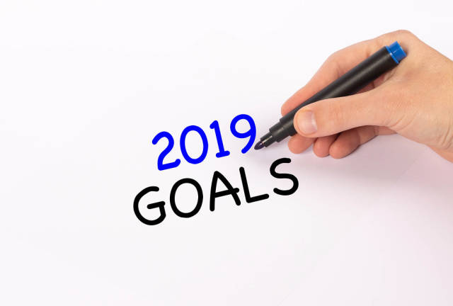 Hand with marker writing 2019 goals text