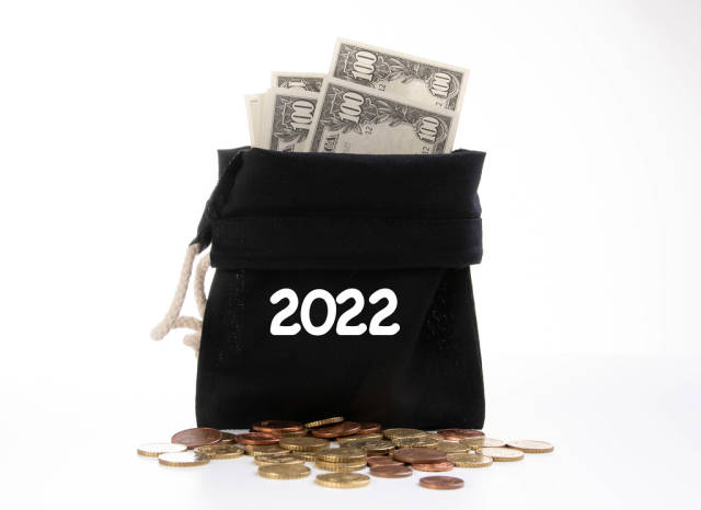 Money bag with 2022 text on white background
