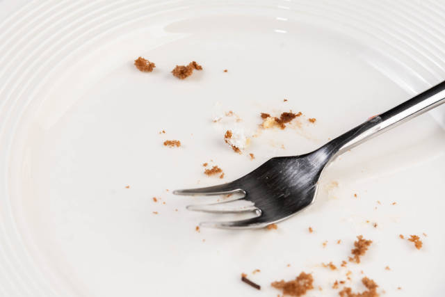 White empty Plate with piece of Cake Leftovers and Fork