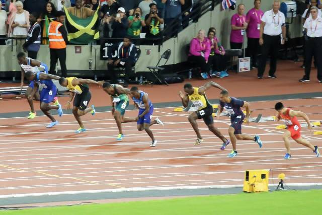 Start of the 100m Final with Bolt and Gatlin during London 2017