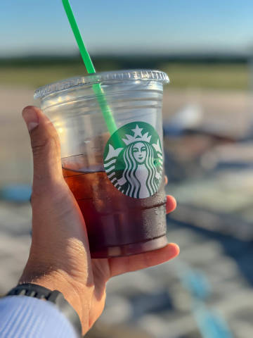 Drinking Starbucks Cold Brew Coffee at the airport