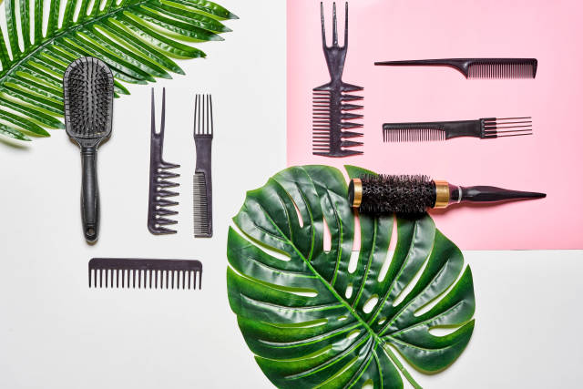 Summer composition with hairdresser tools