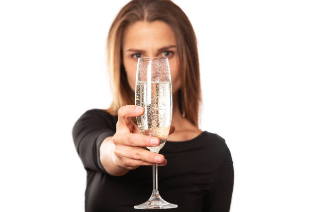 Glass of champagne in a womans hand, close-up