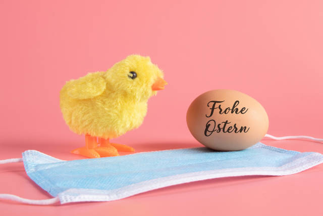 Cute little chicken, medical face mask and egg with Frohe Ostern text
